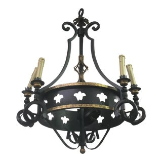 Iron & Gilt 6 Arm Chandelier For Sale
