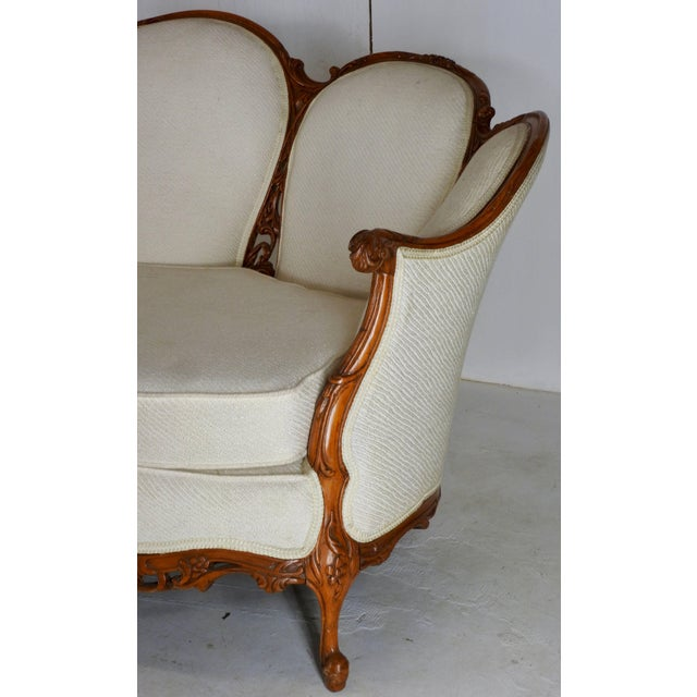 Early 19th Century French Victorian Fabric With Wood Sofa For Sale - Image 4 of 11