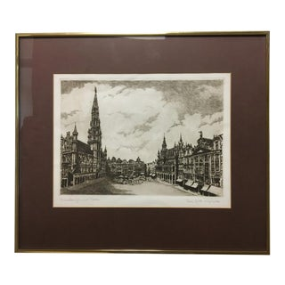 Original Early 20th Century Etching of Brussels Grand Place For Sale