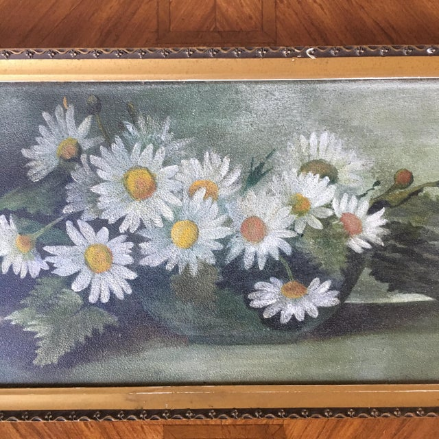 Cottage Vintage Painting of Daisies For Sale - Image 3 of 6