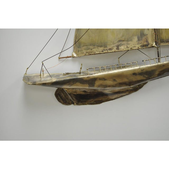 Metal Vintage RaMan Brutalist Mid Century Modern Clipper Ship Wall Sculpture Jere Style For Sale - Image 7 of 11