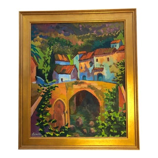 Village in Moroccan Atlas Mountains Framed Oil Painting For Sale