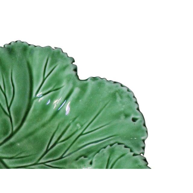 """Majolica Vintage Majolica """"Cabbage"""" Dark Green Leaf Salad or Serving Plate For Sale - Image 4 of 9"""