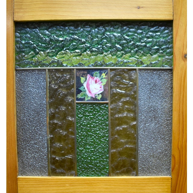 Art Glass Pine Two Door Armoire With Art Glass Panels For Sale - Image 7 of 13