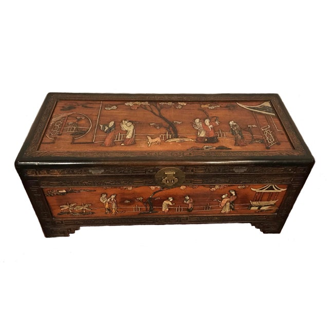 Chinese Antique Chinese Carved Camphor Wood Trunk and Dresser Set With Inlaid Stone For Sale - Image 3 of 12