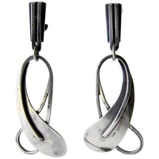 Paul Lobel Sterling Silver American Modernist Earrings For Sale