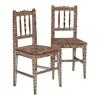 Antique Original Red and Green Painted Side Chairs- A Pair For Sale