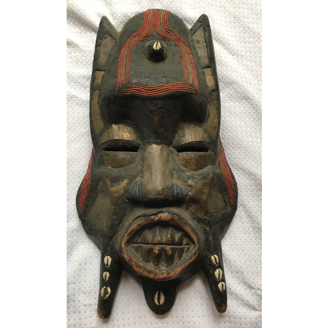 Large Metal Beads & Shells African Wooden Mask - Image 2 of 11