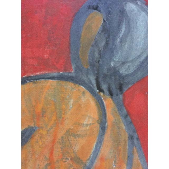 1980s Beatnik San Francisco Artist Avrum Rubentein Figure Study Painting For Sale - Image 5 of 7