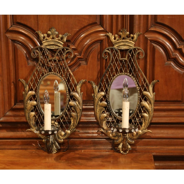 Early 20th Century Pair of Early 20th Century French Iron Wall Sconces With Crystal and Mirror For Sale - Image 5 of 11