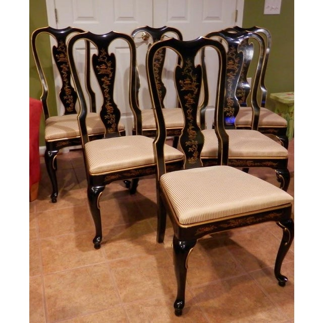 Drexel Heritage Chinoiserie Queen Anne Dining Chairs - S/6 - Image 2 of 7