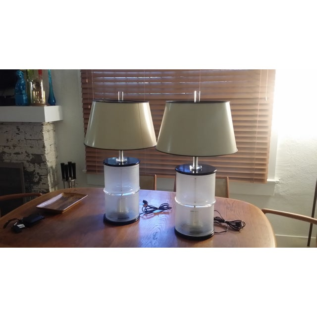 Mid-Century Lucite & Glass Lamps - A Pair - Image 2 of 7