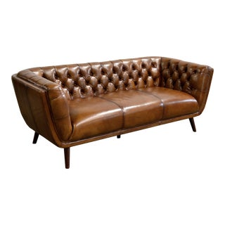 English Mid Century Style Buffalo Leather Chesterfield For Sale