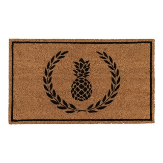 Erin Gates by Momeni Park Pineapple Black Hand Woven Natural Coir Doormat - 1′6″ × 2′6″