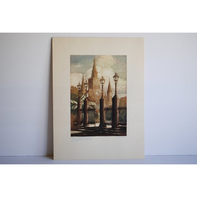 1940s New Orleans Print, St. Louis Cathedral - Image 2 of 7