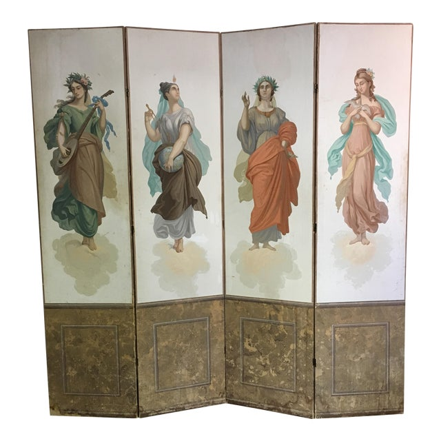 Antique Zuber Attr. Wall Paper Four Panel Screen - Image 1 of 11