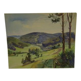 "M. Lauter 1941 ""Rolling Hills"" Original Painting on Paper"