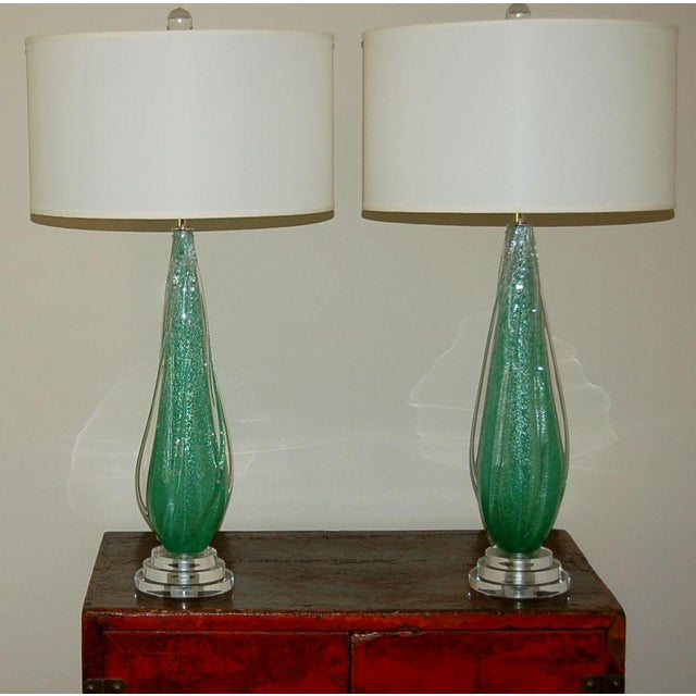 Hollywood Regency Vintage Murano Pulegoso Glass Table Lamps Green For Sale - Image 3 of 8