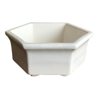 Vintage Mid Century Haeger Hexagon White Ceramic Planter For Sale