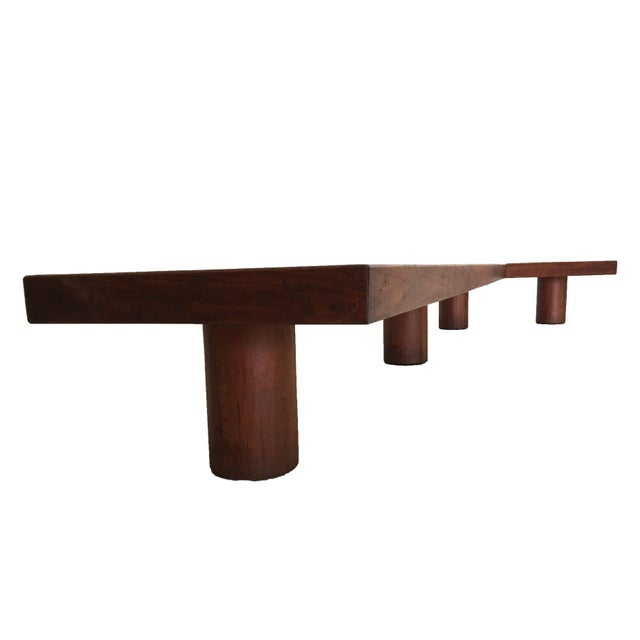 Mid Century Monumental Angled Walnut Bench - Image 4 of 6