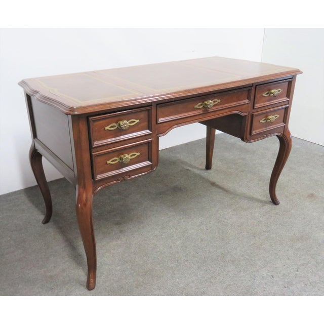 Leather Sligh French Style Leathertop Writing Desk For Sale - Image 7 of 9