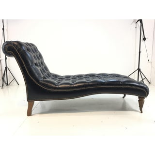 Currey and Co. Transitional Midnight Blue Leather Tufted Parlor Chaise Lounger Preview