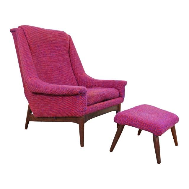 Mid-Century Danish Modern Ohlsson Style Bramin Teak Easy Lounge Chair & Ottoman For Sale
