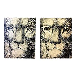 1960s Piero Fornasetti Lion Face Bookends - a Pair For Sale