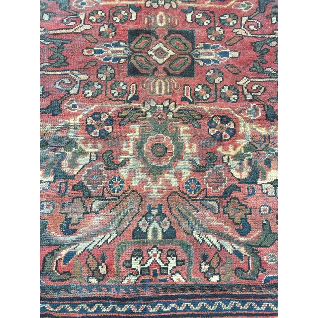 Red 1930s Vintage Distressed Persian Meshkabad Rug - 10′4″ × 13′6″ For Sale - Image 8 of 13