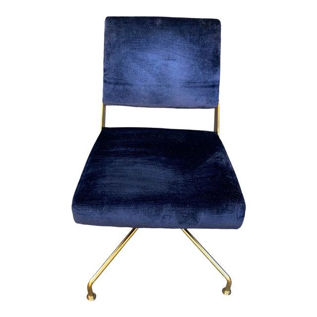 Contemporary Rue Cambon Blue Velvet Swivel Office Chair For Sale