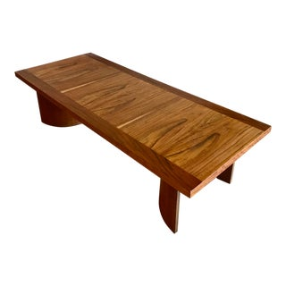 Mid-Century Modern Mozambique Wood and Paldao Wood Slab Platform Coffee Table For Sale