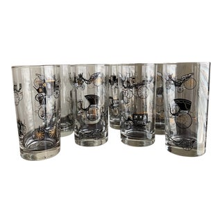 1960s Libbey MCM Black & Gold Stage Coach Tumblers - Set of 8 For Sale