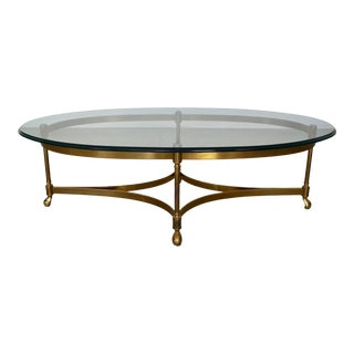 Hollywood Regency Brass Coffee Table For Sale
