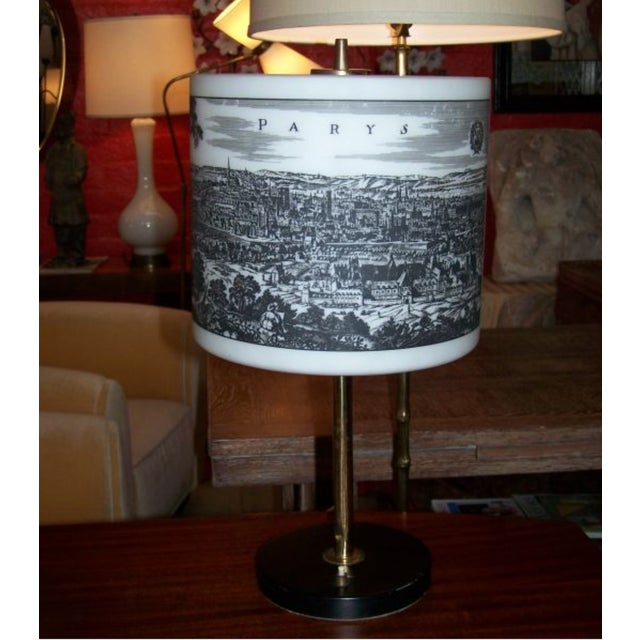 French French Table Lamp With Painted Glass Shade For Sale - Image 3 of 6