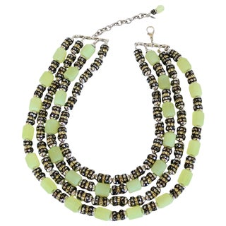 """Francoise Montague One of a Kind Green Vintage Glass and Crystal """"Lulu"""" Necklace For Sale"""