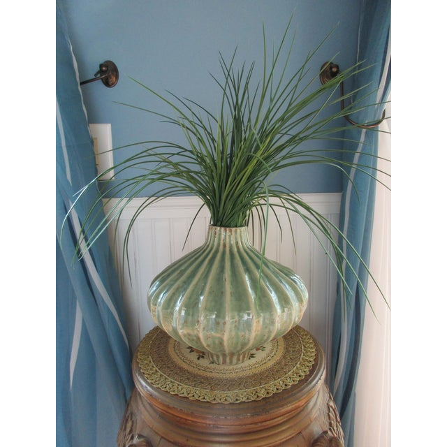 Boho Chic Global Views Teal Cinched and Fluted Vase For Sale - Image 3 of 11