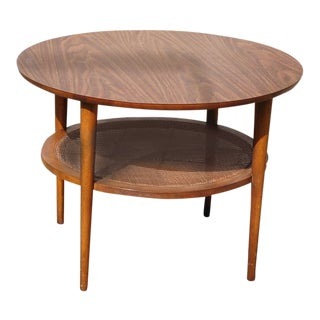 1960s Mid-Century Modern Lane Furniture Two Shelf Round Wood Side Table