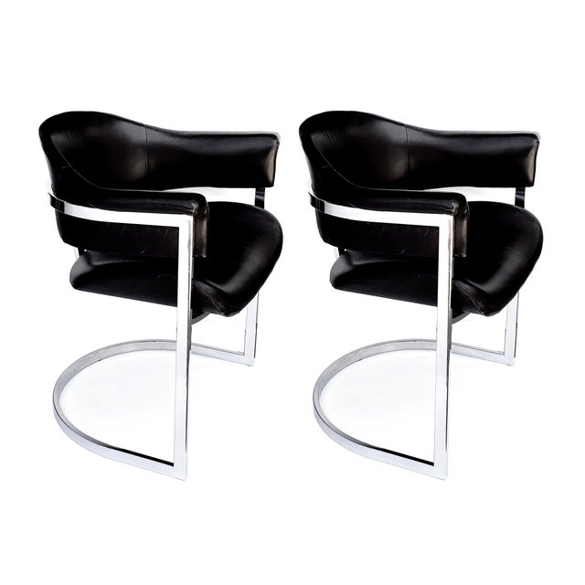 1970s A Stylish and Comfortable Pair of Italian Chrome and Black Leather Chairs Designed by Vittorio Introini for Mario Sabot 1970's For Sale - Image 5 of 5