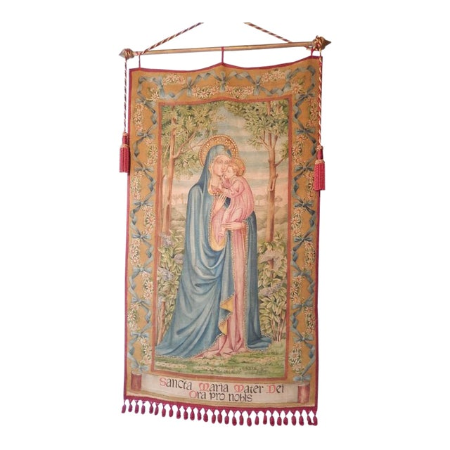 19th Century Huge Italian Religious Banner Hand-Painted For Sale