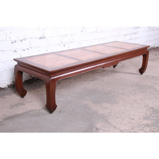 Wood Michael Taylor for Baker Chinoiserie Rosewood and Walnut Coffee Table, Newly Restored For Sale - Image 7 of 12