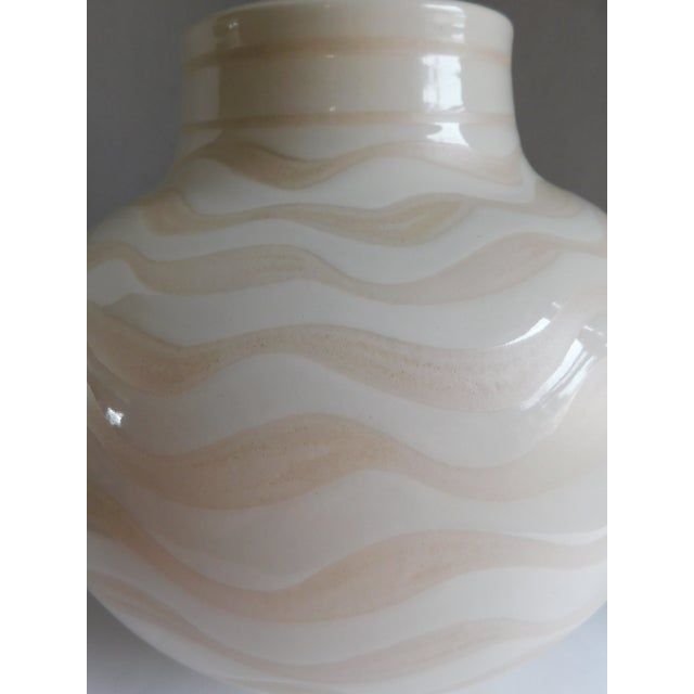 Mid Century Ceramic Striped Table Lamp For Sale - Image 4 of 12