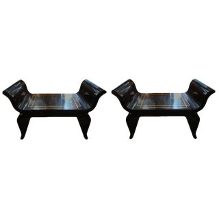 1960s Vintage James Mont Attributed Hollywood Regency Black Lacquered Benches For Sale