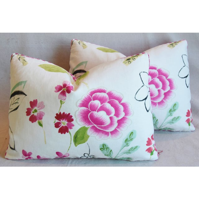 "French Manuel Canovas Floral Linen Feather/Down Pillows 22"" X 16"" - Pair For Sale - Image 13 of 13"