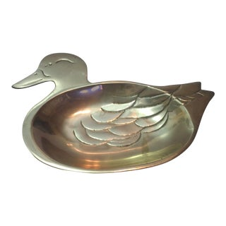 1970s Vintage Brass Duck Jewelry Dish For Sale
