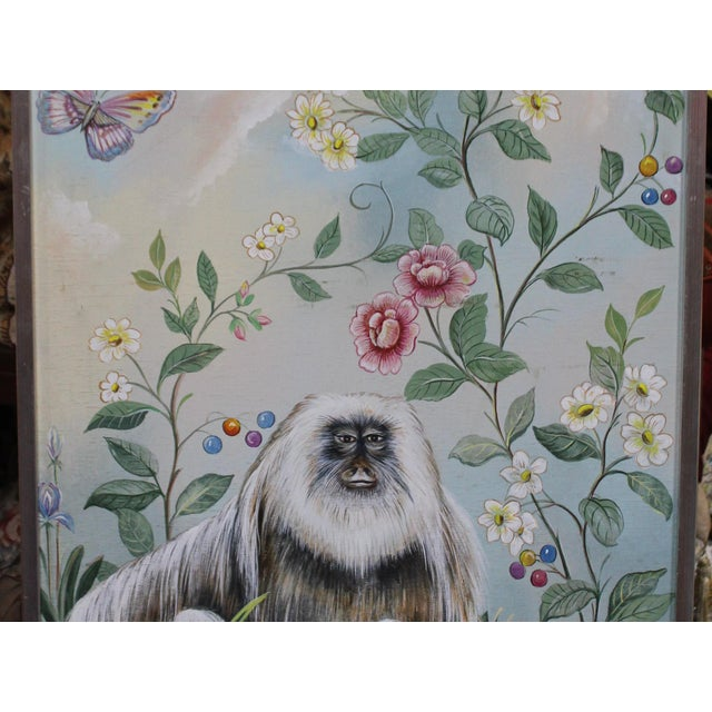 Late 20th Century Late 20th Century Decorative Monkey Painting For Sale - Image 5 of 8