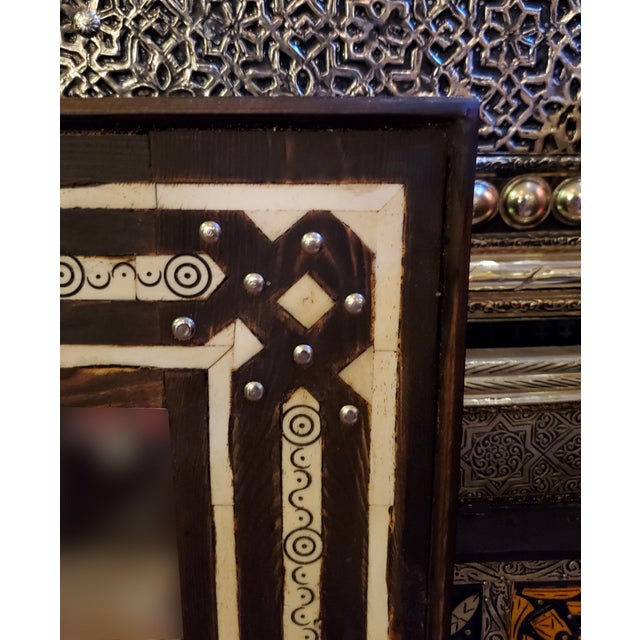 Medium Size Moroccan Rectangular Resin Inlay Mirror For Sale - Image 4 of 7