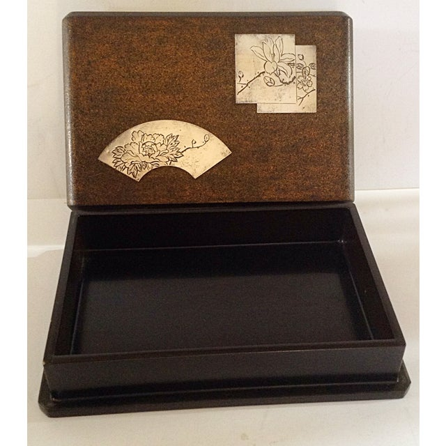 Japanese Laquered Cigarette Box With Silver Inlay For Sale - Image 4 of 5