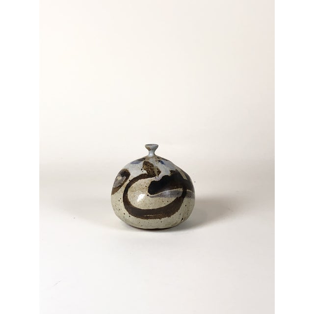 1960s Vintage Abstract Glaze Small Neck Vase For Sale - Image 4 of 4