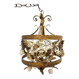 Vintage Italian Tole Chandelier For Sale