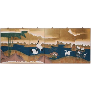 1920-1940s Japanese Six-Panel Byobu Screen